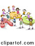 Vector Clipart of a Doodled Group of Kids Playing on ABC by BNP Design Studio