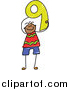 Vector Clipart of a Doodled Happy Black Boy Holding the Number 9 by Prawny