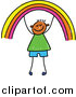 Vector Clipart of a Doodled Happy Boy Holding up a Rainbow by Prawny