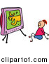 Vector Clipart of a Doodled Happy Red Haired White Boy Watching a Dog Show on Tv by Prawny