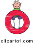 Vector Clipart of a Doodled Happy White Boy Standing on a Lowercase Letter O by Prawny