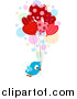 Vector Clipart of a Doodled Love Bird Delivering Heart Balloons by BNP Design Studio