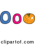 Vector Clipart of a Doodled Lowercase and Capital Letter O with an Orange by Prawny
