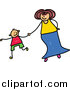 Vector Clipart of a Doodled Mother Holding Hands with Her Son by Prawny