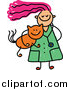 Vector Clipart of a Doodled Pink Haired White Veterinarian Girl Carrying a Ginger Cat by Prawny