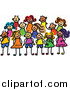 Vector Clipart of a Doodled Posing Group of Kids by Prawny