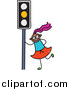 Vector Clipart of a Doodled Purple Haired Black Girl by a Yellow Traffic Light by Prawny