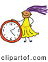 Vector Clipart of a Doodled Purple Haired Girl with a Clock by Prawny