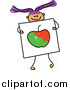 Vector Clipart of a Doodled Purple Haired White Girl Holding a Picture of an Apple by Prawny
