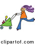 Vector Clipart of a Doodled Purple Haired White Mom Pushing a Baby Stroller by Prawny