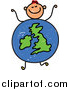 Vector Clipart of a Doodled Red Haired White Boy with a Uk Globe Body by Prawny