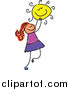 Vector Clipart of a Doodled Red Haired White Girl Holding the Sun by Prawny