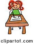 Vector Clipart of a Doodled Red Haired White Girl Writing at Her Desk by Prawny