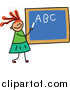 Vector Clipart of a Doodled Red Haired White Girl Writing Her Abcs on a Chalk Board by Prawny