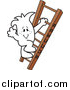 Vector Clipart of a Doodled Squiggle Guy Climbing the Ladder to Success by Toons4Biz