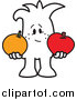 Vector Clipart of a Doodled Squiggle Guy Comparing Apples to Oranges by Toons4Biz