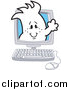 Vector Clipart of a Doodled Squiggle Guy on a Computer Screen by Toons4Biz