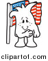 Vector Clipart of a Doodled Squiggle Guy Pledging Allegiance to the American Flag by Toons4Biz