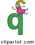 Vector Clipart of a Doodled White Blond Girl on a Lowercase Letter Q by Prawny