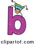 Vector Clipart of a Doodled White Boy Behind a Lowercase Letter B by Prawny
