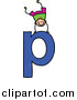 Vector Clipart of a Doodled White Boy Doing a Handstand on a Lowercase Letter P by Prawny