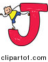 Vector Clipart of a Doodled White Boy on a Capital Letter J by Prawny