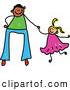 Vector Clipart of a Father Holding Hands with His Little Daughter by Prawny