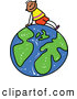 Vector Clipart of a Friendly Boy Sitting on a Globe by Prawny