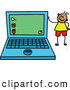 Vector Clipart of a Friendly Boy Standing by a Laptop by Prawny