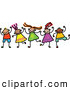 Vector Clipart of a Friendly Childs Sketch of Boys and Girls Holding Hands by Prawny