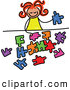 Vector Clipart of a Girl Playing with a Puzzle, on White by Prawny