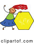 Vector Clipart of a Grinning Girl Holding a Yellow Hexagon by Prawny