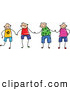 Vector Clipart of a Group of Happy Stick Figure Boys Holding Hands by Prawny