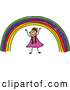 Vector Clipart of a Happy Doodle Girl Under a Rainbow by Prawny