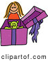 Vector Clipart of a Happy Girl Opening a Gift with a Teddy Bear by Prawny