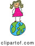 Vector Clipart of a Happy Girl Standing on a Globe of Earth by Prawny
