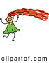 Vector Clipart of a Happy Girl with Long Red Hair by Prawny