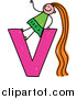 Vector Clipart of a Happy Red Haired White Girl with Long Hair on a Lowercase Letter V by Prawny