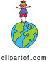 Vector Clipart of a Happy Smiling Boy Standing on a Globe by Prawny