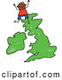 Vector Clipart of a Happy Stick Boy on a Uk Map by Prawny