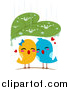 Vector Clipart of a Leaf Sheltering Love Birds from the Rain by BNP Design Studio