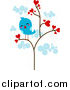 Vector Clipart of a Lonely Blue Bird in a Heart Tree by BNP Design Studio