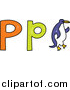 Vector Clipart of a Lowercase and Capital Letter P with a Doodled Penguin by Prawny