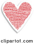 Vector Clipart of a Red and White Doodle Heart with a Shadow by KJ Pargeter