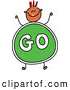 Vector Clipart of a Smiling Boy with a Go Sign Body by Prawny