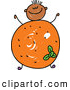 Vector Clipart of a Smiling Boy with an Orange Body by Prawny