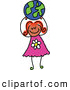 Vector Clipart of a Smiling Girl Holding up a Globe Ball by Prawny