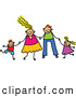 Vector Clipart of a Smiling Happy Caucasian Family Holding Hands by Prawny