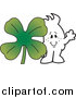 Vector Clipart of a St Patricks Day Doodle Squiggle Guy with a Clover by Toons4Biz