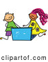 Vector Clipart of a Stick Figure Boy and Girl Using a Laptop by Prawny